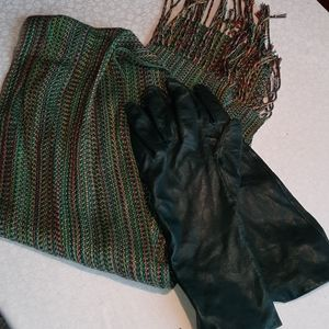 Leather gloves and scarf